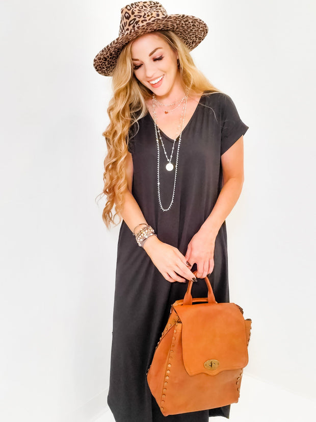 Solid V-Neck Dress with Back Detail