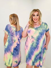 Tie Dye V-neck Dress (S-3XL)