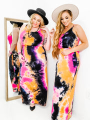 Sleeveless Tie Dye Knit Maxi Dress Featuring Elastic Waist Band (S-3XL)
