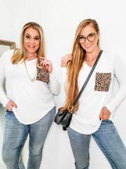 Doorbuster - Long Sleeve V-Neck Leopard Print Pocket Top (S-3XL)