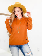 Long Sleeve Solid Knit Distressed Sweater
