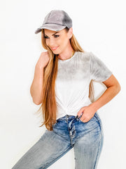 Twisted Front Ombre Oil Wash Cropped Top