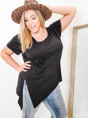 Basic Sheer Burnout Tie-Hem Crew Neck Top (1XL-3XL)