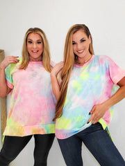 Short Sleeve Rainbow Tie Dye Printed Knit Top Featuring Round Neckline and  Slit Hem (S-3XL)