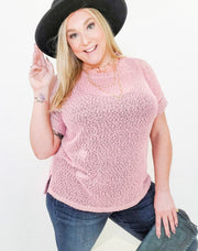 Solid Net Knit Top Featuring Round Neckline and Folded Short Sleeves (S-3XL)