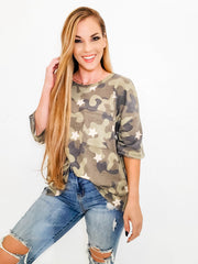 Short Sleeve Camo Top With Star Detail