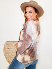 3/4 Sleeve Tie Dye Top With Pocket