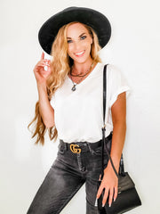 V-Neck Short Sleeve Basic Bodysuit