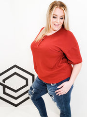 3/4 Sleeve Top With Button Detail (S-2XL)