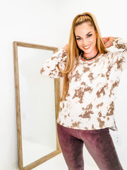 Long Sleeve Tie Dye Knit Top (S-3XL)