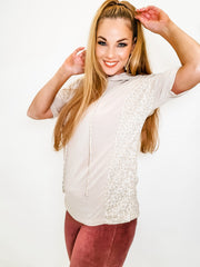 Short Sleeve Hoodie Top with Cheetah Print Trim Detail and Draw String