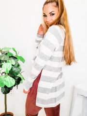 Brushed Wide Stripe V-Neck Oversized Tunic Hoodie Top