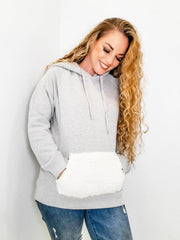 Sherpa Trimmed Fleece French Terry Hoodie Top