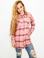 Plaid Hoodie Tunic Top
