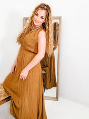 Smocked V-Neck Maxi Dress