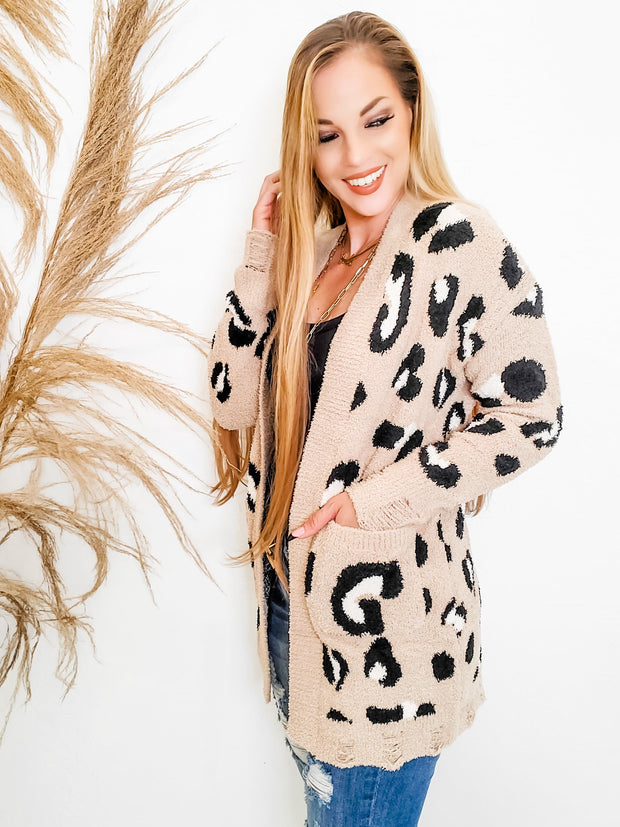 Leopard Print Distressed Long Sleeve Cardigan