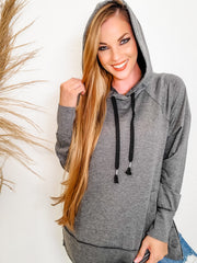 Solid Knit Pullover Hoodie Sweater  with Side Zipper Detail