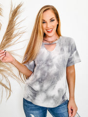 V-Neck Tie-dye Printed French Terry Knit Top with Choker Cut-Out Detail (S-3XL)