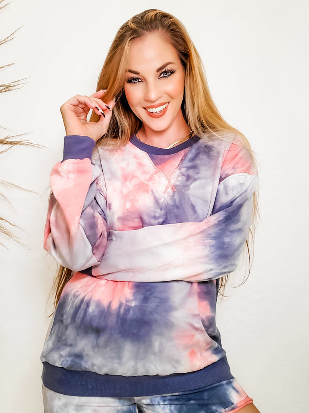 Tie-Dye Printed Long sleeve Jersey Top (S-3XL)
