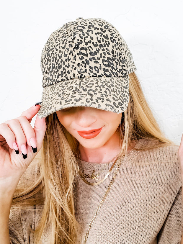 Leopard Distressed Cotton Baseball Cap