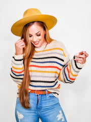 Round Neck Long Sleeve Multi Stripe Sweater (S-3XL)