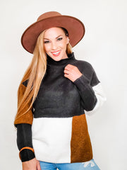 Turtleneck With Color Block Detail (S-2XL)