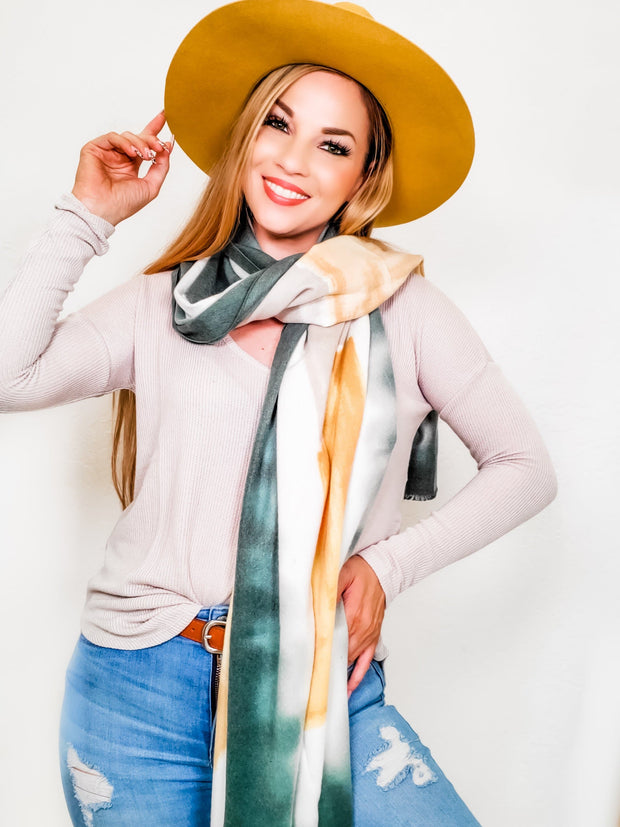 Watercolor Inspired Oblong Scarf