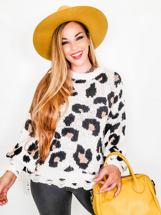 Leopard Print Sweater With Distressing Detail