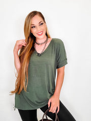 Doorbuster - Rolled Sleeve Side SlitT Hi-Low Hem Top