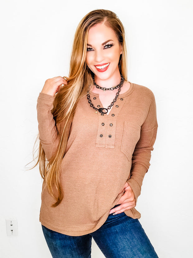 Long Sleeve V-Neck Top with Front Pocket