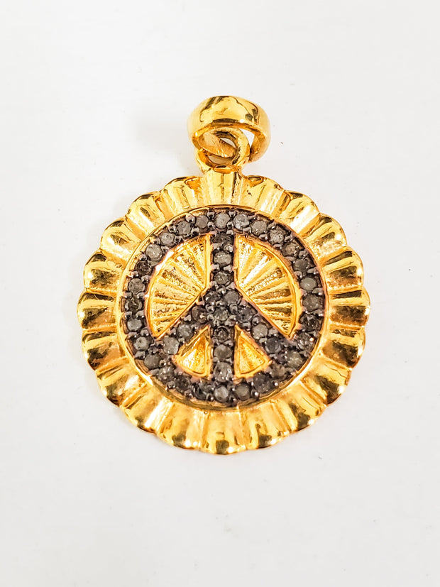 Karli Buxton - 3 Diamond Embellished Gold Filled Peace Sign Pendant