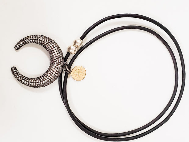 "Karli Buxton - 3D Crescent Magnetic Dainty on 18"" Leather Necklace"