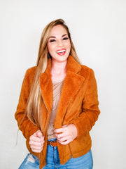 Faux Fur Jacket with Zipper Closure on Front (S-3XL)