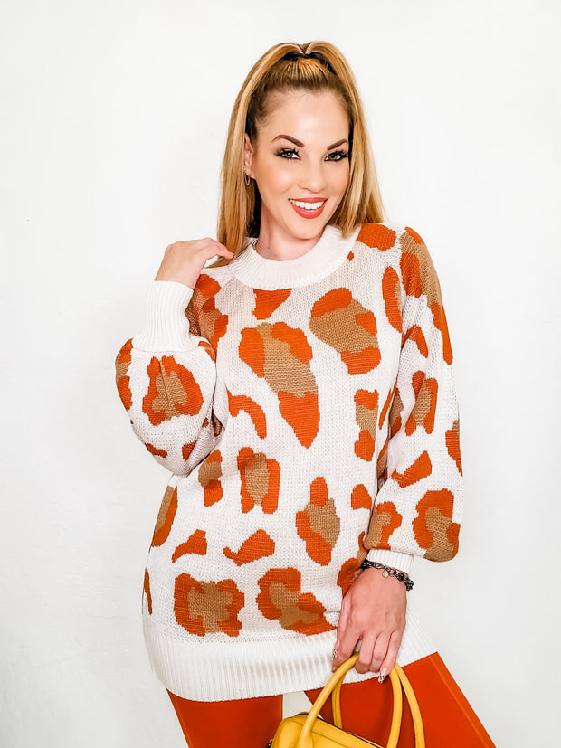Leopard Printing Balloon Sleeves Knit Sweater