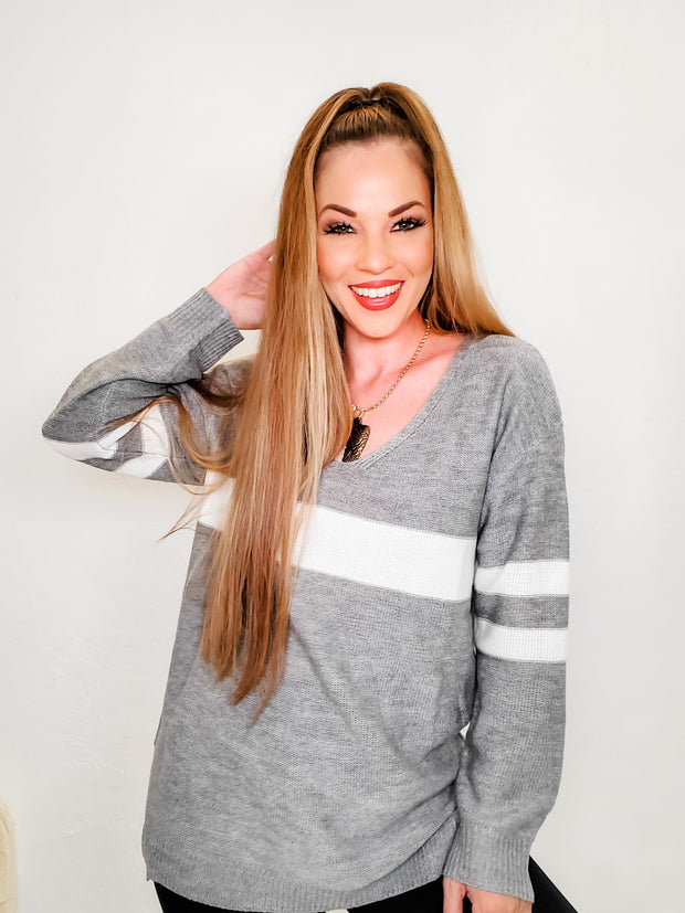 Color Block V-Neck Sweater with Side Slits (S-3XL)