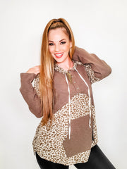 Pol - Animal Print Hoodie Knit Long Sleeve Top with Kangaroo Pocket