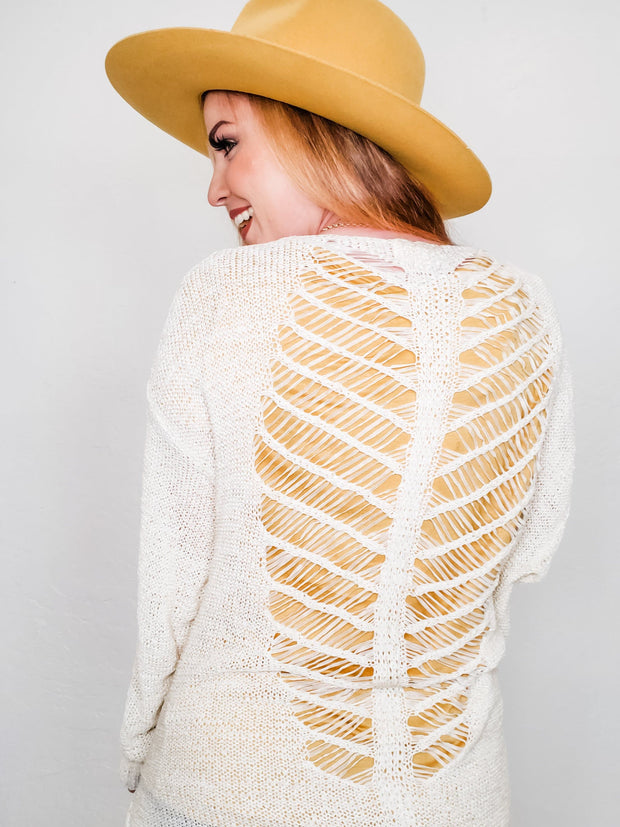 Backless Skeleton Detailed Long Sleeve Cardigan