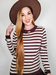 Long Sleeve Striped Top with Collar