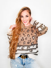 Leopard and Stripe Combo Sweater with Rib Contrast on Neck, Hem, and Sleeve (S-3XL)