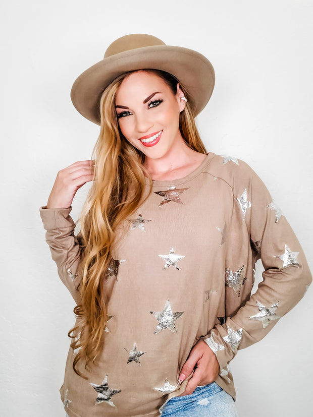 Long Sleeve Star Print Top