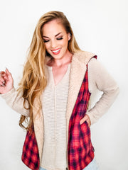 Reversable Plaid and Fur Hooded Vest