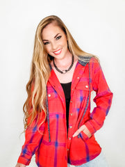 Button Down Plaid Hoodie Jacket