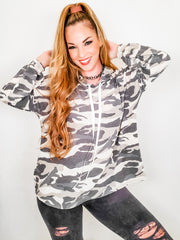 Camouflage Drawstring Hoodie Sweater