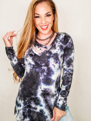 Long Sleeve Tie Dye Knit Top with Criss-Cross Detail (S-3XL)