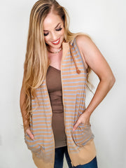 Easel - Print Line in Stripe Hooded Vest