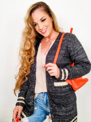 College Style Long Sleeve Heavy Knit Cardigan