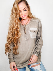 Easel - Long Sleeve Top with Front Pocket Detail