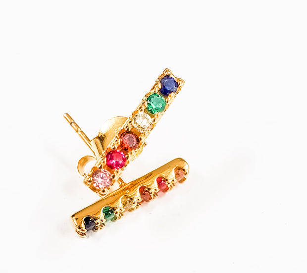 Kikichic - Rainbow Bar Stud Earrings
