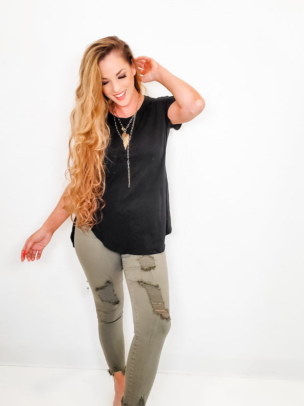 Easel - Kali High Waist Distressed Pants