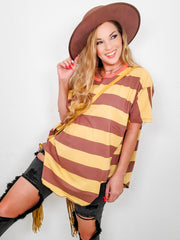 Easel - Rugby Stripe Boxy Top